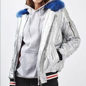 Topshop Silver Metallic Blue Fur Jacket